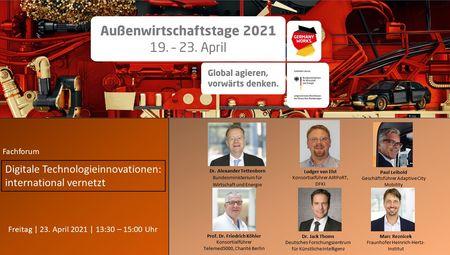 Das Bild zeigt den Flyer der Außenwirtschaftstage. Links im Bild steht das Motto der Veranstaltung: Digitale Innovationstechnologien: international vernetzt. Rechts davon sind die Teilnehmer zu sehen.