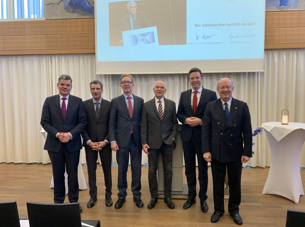 V.l.n.r.:  Gabriël Clemens, Antonio Krüger, Wolf-Dieter Lukas, Hans Albert Aukes, Tobias Hans, Wolfgang Wahlster