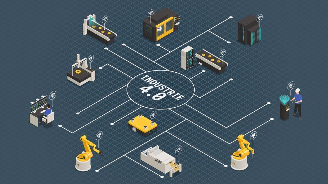 Visualisierung einer voll vernetzten Produktion unter dem Schlagwort Industrie 4.0.