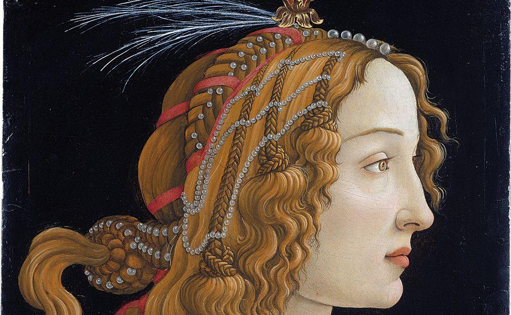 Sandro Botticelli, Webiliches Idealbildnis Simonetta Vespucci als Nymphe, ca. 1480,