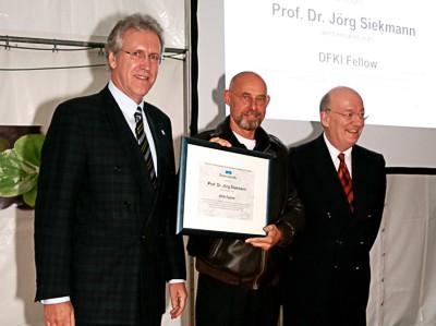 [Translate to English:] Dr. Walter Olthoff, Prof. Dr. Jörg Siekmann, Prof. Dr. Wolfgang Wahlster,  DFKI Kaiserslautern, 13. September 2013