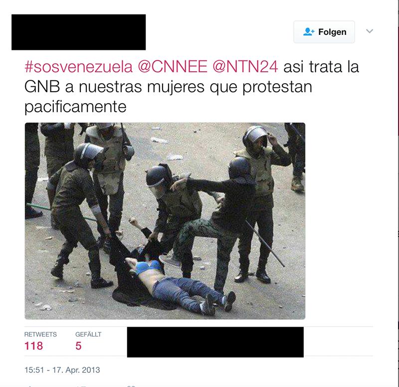 Screenshot aus Twitter mit Foto im falschen Kontext